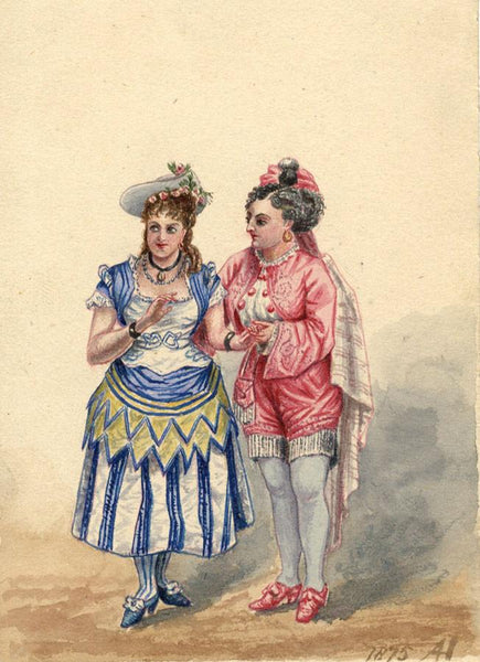 Albert Harcourt, Comic Opera Characters - Original 19th-century watercolour