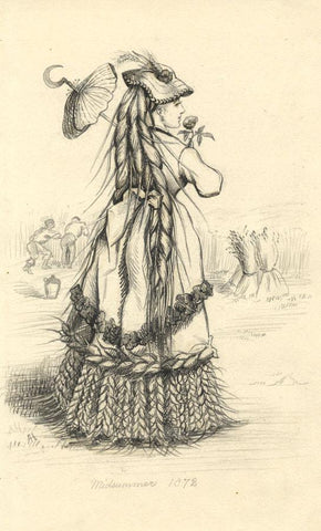 Albert Harcourt, Lady in Wheat Sheaf Dress - late 19th-century graphite drawing
