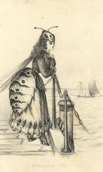Albert Harcourt, Lady in Wasp Dress - Original 19th-century graphite drawing