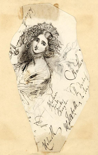 Albert Harcourt, Faces and Calligraphy - Original 19th-century pen & ink drawing