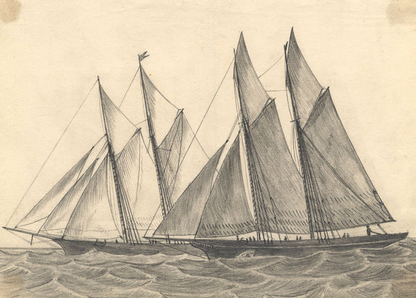 Albert Harcourt, Racing Yachts - Original late 19th-century graphite drawing