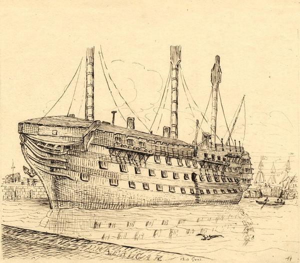 Albert Harcourt, HMS Trafalgar - Original late 19th-century pen & ink drawing