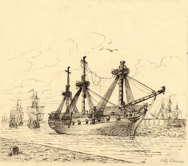 Albert Harcourt, Ships in the City Canal - late 19th-century pen & ink drawing