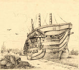 Albert Harcourt, HMS Trafalgar Ship - late 19th-century pen & ink drawing