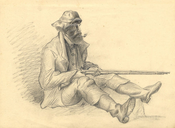 Albert Harcourt, Sailor with Rifle - Original late 19th-century graphite drawing