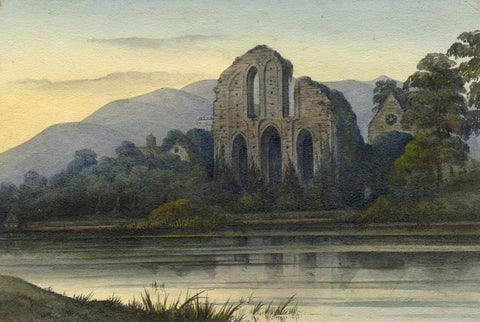 Ellis, Valle Crucis Abbey, North Wales - Mid-19th-century watercolour painting