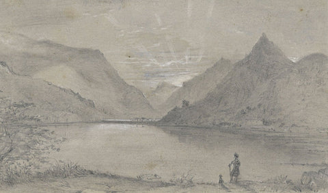Ellis, Llanberis View, Snowdonia, Wales - Mid-19th-century watercolour painting