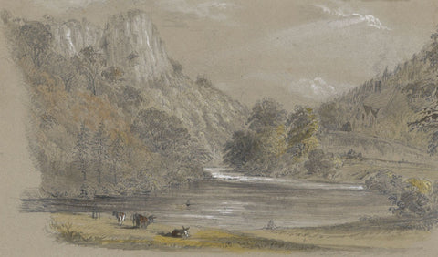 Ellis, Cows Grazing, River Derwent, Matlock - Mid-19th-century graphite drawing