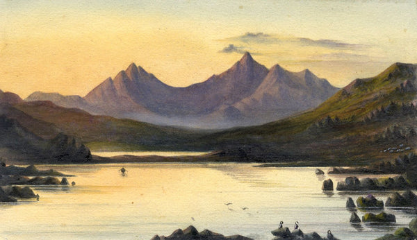Ellis, Snowden from Capel Curig at Sunset - Original 1871 watercolour painting