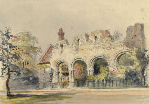 Ellis, Infirmary Chapel Ruins, Canterbury -Mid-19th-century watercolour painting