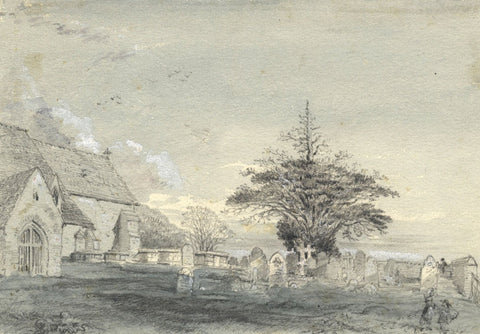 Ellis, Herstmonceux Church, Sussex - Original mid-19th-century graphite drawing