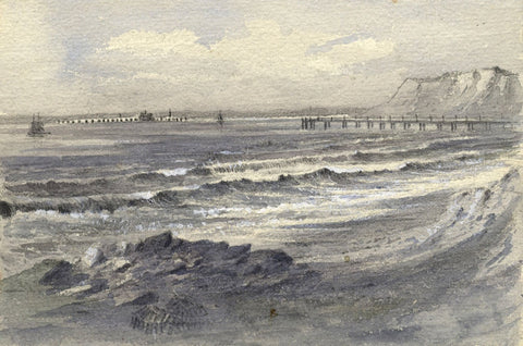 Ellis, Totland Bay with Pier, Isle of Wight - Original 1878 watercolour painting