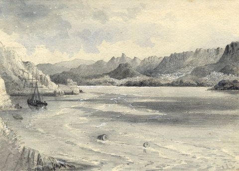 Ellis, River Mawddach Estuary, Barmouth, Wales - Original 1877 watercolour painting