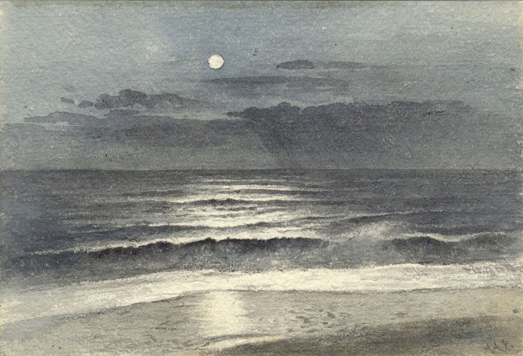 Ellis, Bay Moonlight, Isle of Wight - Late 19th-century watercolour painting