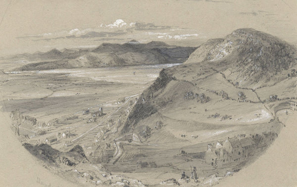 Ellis, Aerial View, Llandudno Bay, Wales - Mid-19th-century graphite drawing