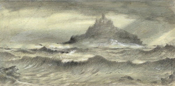 Ellis, St Michael's Mount, Cornwall - Original mid-19th-century graphite drawing