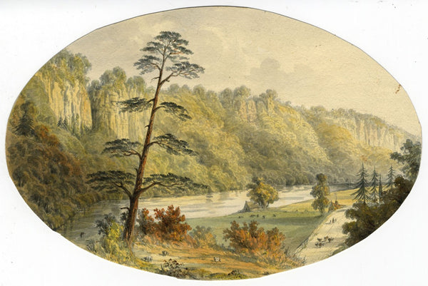 Ellis, River Derwent, Matlock, Peak District -Mid-19th-century watercolour