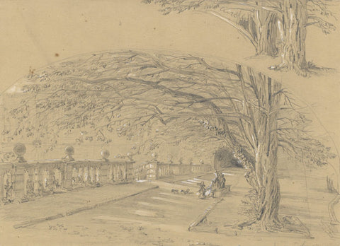 Ellis, Elizabethan Terraces, Haddon Hall, Peak District - Original mid-19th-century graphite drawing