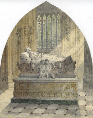Ellis, Tomb Effigy with Cherubs -Original late 19th-century watercolour painting