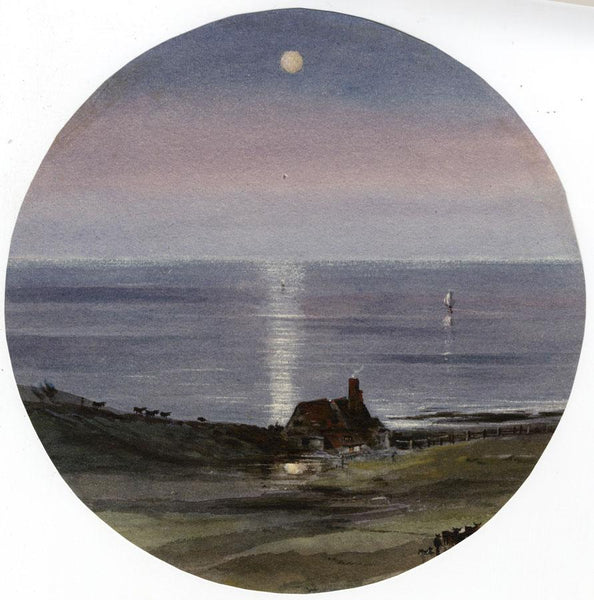 Ellis, Llandudno Seascape by Moonlight - Original mid-19th-century watercolour painting