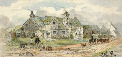 Ellis, Old Post Office, Tintagel, Cornwall - Original mid-19th-century watercolour painting