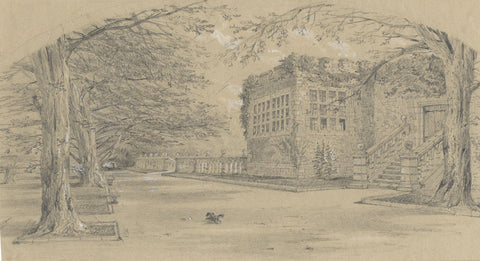 Ellis, Entrance, Haddon Hall, Derbyshire - Original mid-19th-century graphite drawing