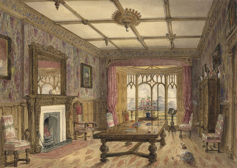 Ellis, Drawing Room, Jacobean Manor, Elstree - Original mid-19th-century watercolour painting
