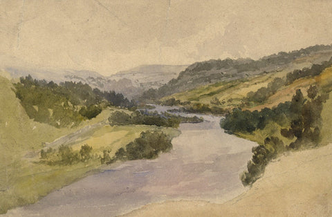 Sam Bough RSA, River Landscape - Original mid-19th-century watercolour painting