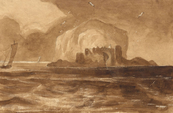 Bamburgh Castle, Northumberland - Original mid-19th-century watercolour painting