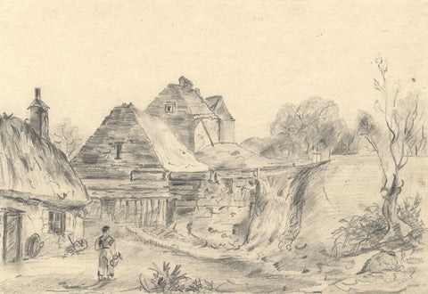 Woman with Jug by Thatched Cottages - Original mid-19th-century graphite drawing