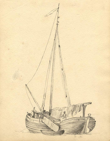 Single Mast Fishing Sailboat Study - Original 19th-century watercolour painting