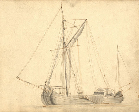 Fishing Sailboat Study - Original mid-19th-century watercolour painting