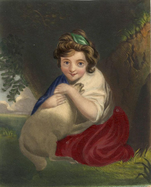 Little Girl Cuddling a Lamb - Original early 19th-century overpainted mezzotint