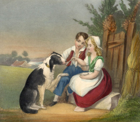 Shepherd Children Feeding a Dog -Original mid-19th-century overpainted mezzotint