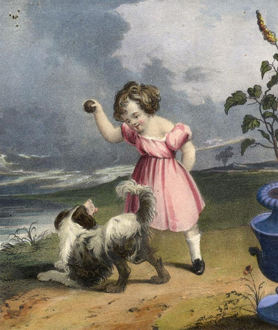 Little Girl & Dog Playing Fetch  - Mid-19th-century overpainted lithograph