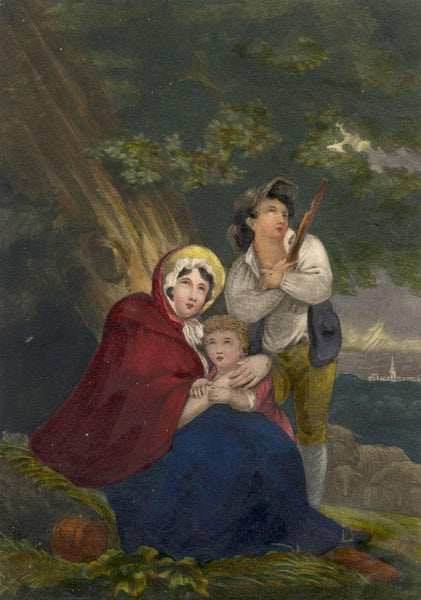 Shepherd Boy & Family Taking Shelter - Early 19th-century overpainted mezzotint
