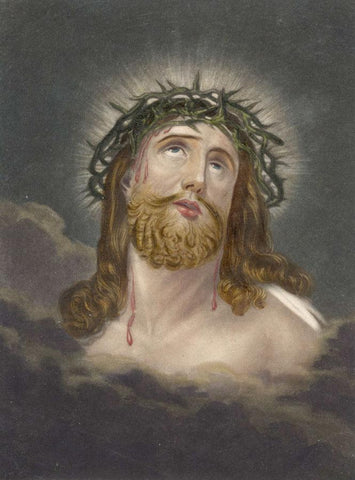 Jesus in Crown of Thorns - Original early 19th-century overpainted mezzotint