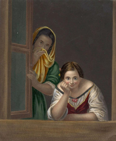 Spanish Girl & Her Nurse, after Murillo - Mid-19th-century overpainted mezzotint