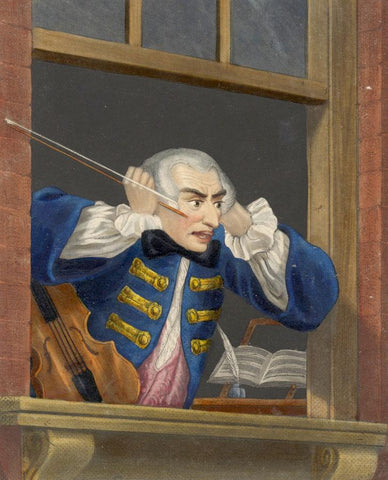 Enraged Musician, after Hogarth - Early 19th-century overpainted mezzotint
