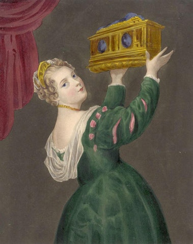 Tudor Lady with a Gold Box - Original early 19th-century overpainted mezzotint