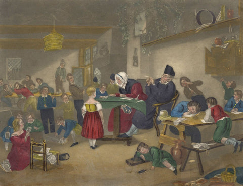 Dutch School, Unruly Children in Schoolroom - Early 19th-century mezzotint