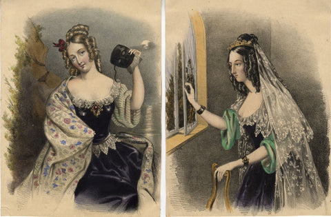 Female Society Beauties -Pair of early 19th-century overpainted lithographs