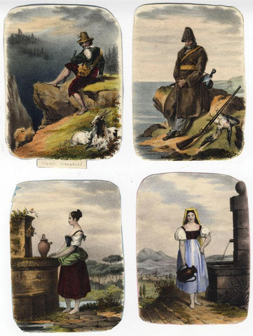 Group of Alpine Figures - Four early 19th-century lithographs