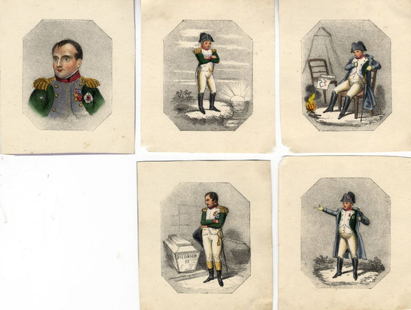 Group of Miniature Napoleon Cartoons - Five early 19th-century lithographs