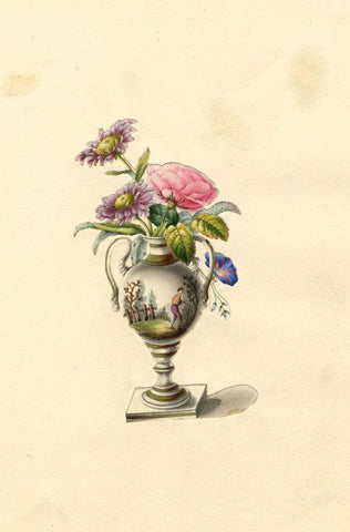 Urn Vase & Flower Bouquet - Original early 19th-century overpainted lithograph