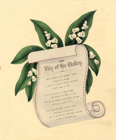 Lily of the Valley Poem Scroll -Original mid-19th-century overpainted lithograph