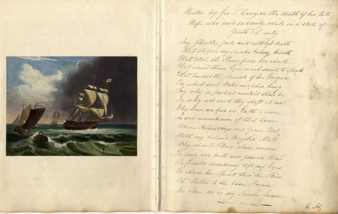 Sailboats on Stormy Sea - 1848 overpainted mezzotint with original poetry verso