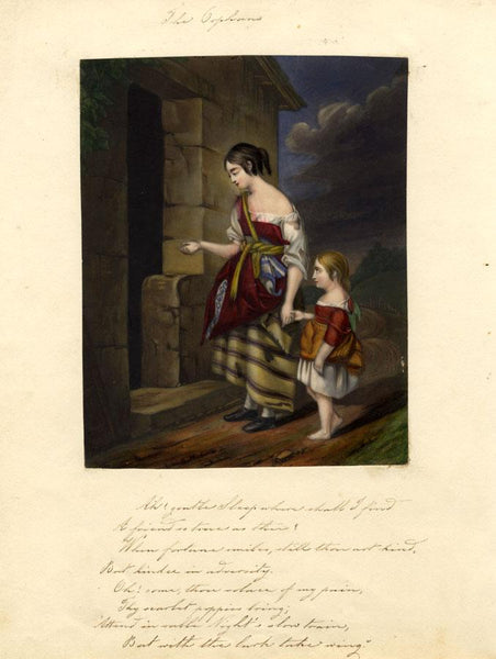 Begging Orphan Children - Original early 19th-century overpainted mezzotint