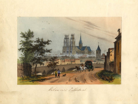 Orléans Cathedral, France - Original early 19th-century overpainted lithograph