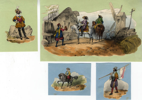 Historical Spanish Soldiers - Original early 19th-century overpainted lithograph
